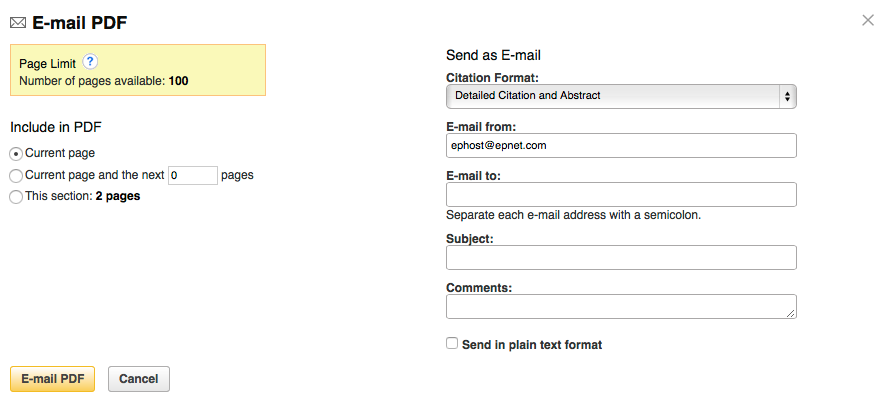 The 'E-mail Pages' feature shows you how many pages you can export, lets you select which pages you'd like to export, and lets you fill in emailing information.