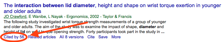 The position of the 'Cited by' link in a Google Scholar search result.